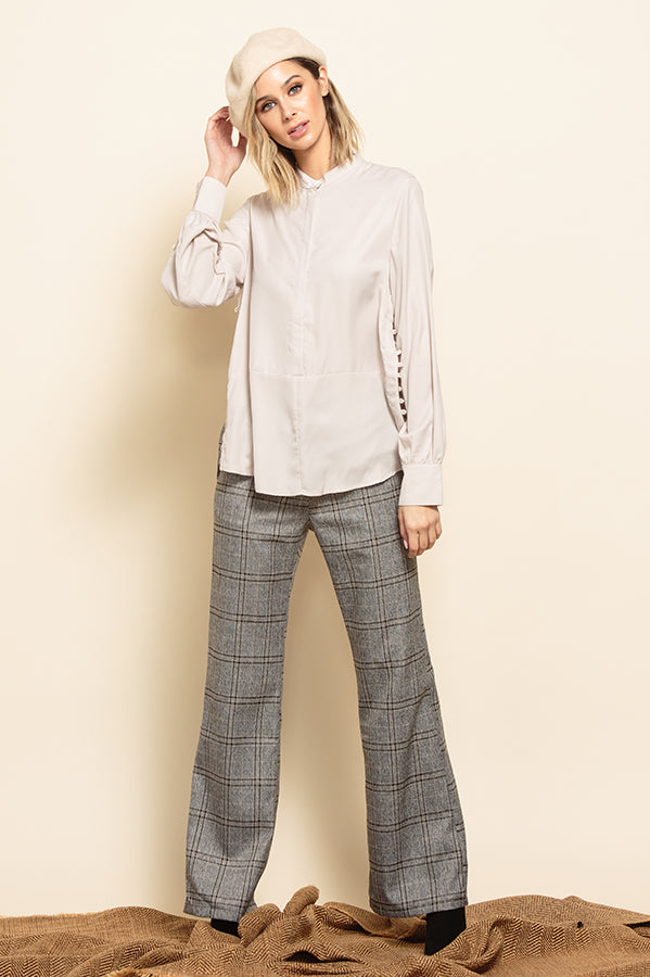 JENNY HIGH WAISTED BELL BOTTOM PANTS | PEPPER PLAID