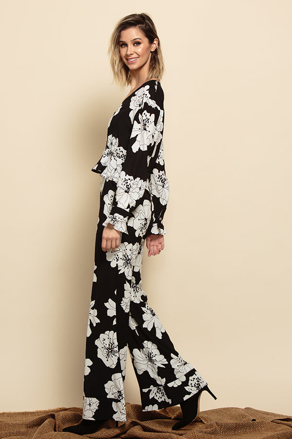 ISLA WIDE LEG CUFF PANTS | BLACK FLORAL