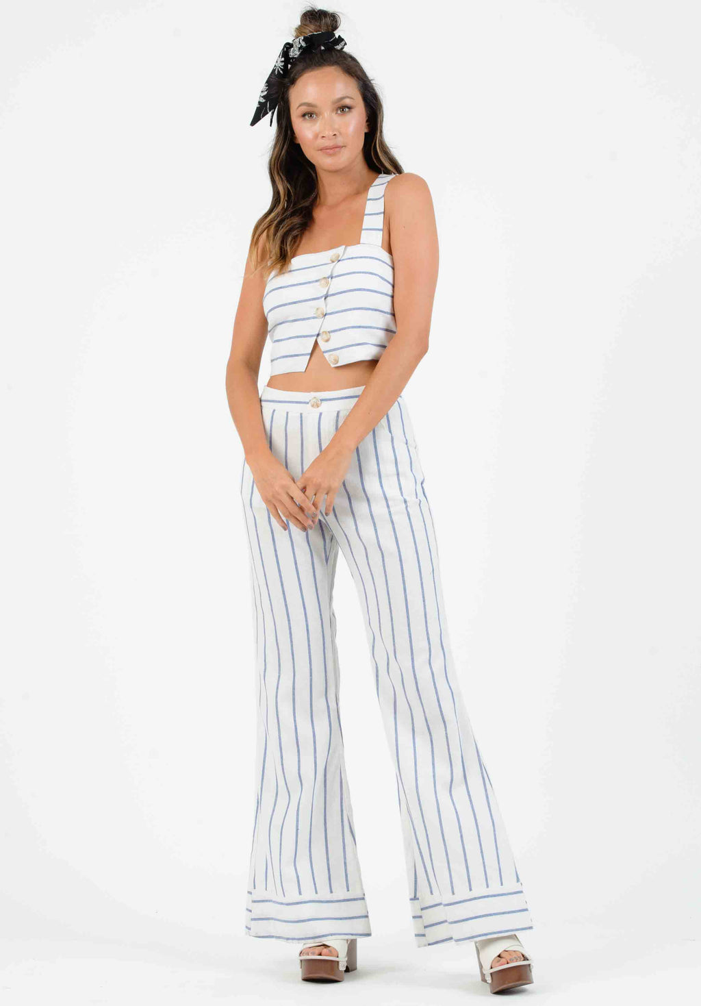 ISLA WIDE LEG CUFF PANTS | BLUE/WHITE STRIPES