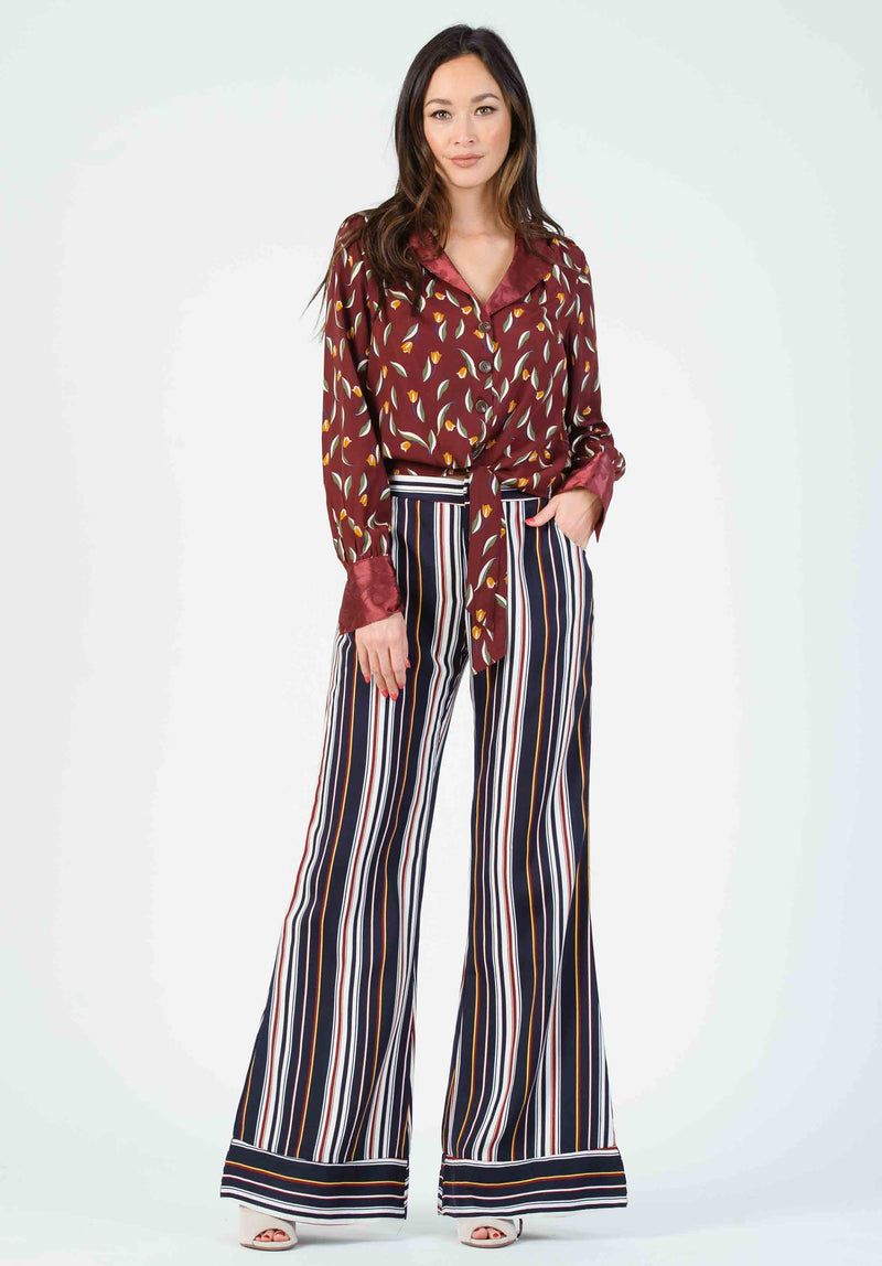 ISLA WIDE LEG CUFF PANTS | TAN/WHITE STRIPES