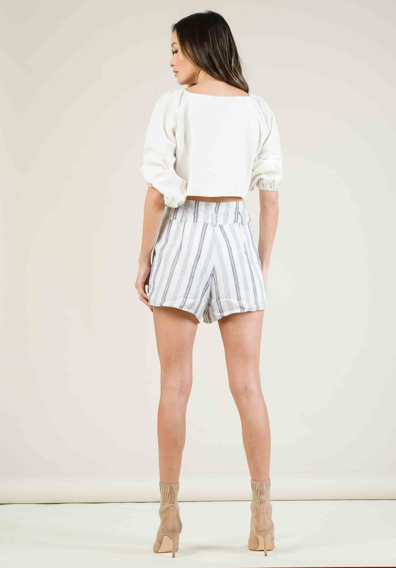 JORDYN HIGH WAISTED BELTED SHORTS | WHITE MULTISTRIPE