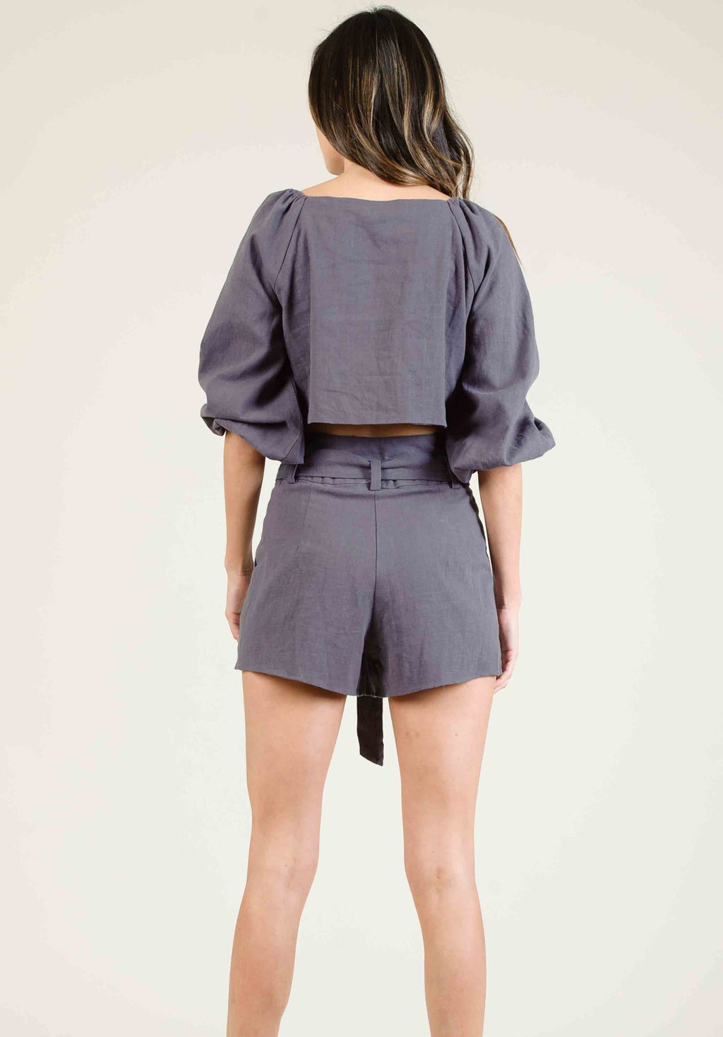 JORDYN HIGH WAISTED BELTED SHORTS | CHARCOAL