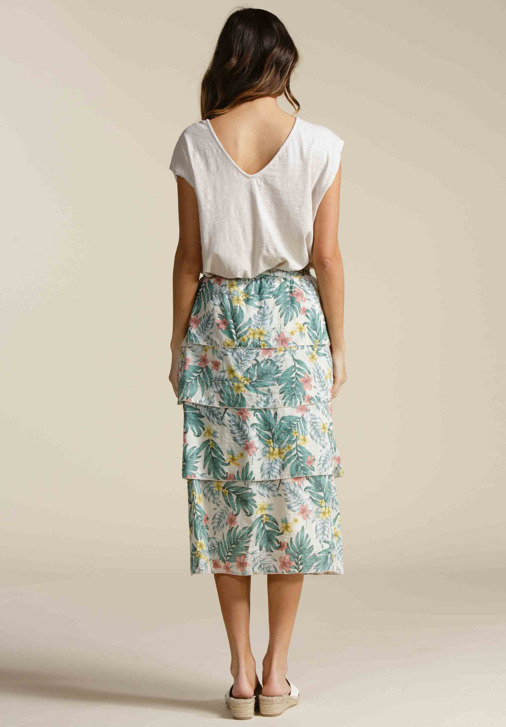 LONDYN MULTI TIERED MIDI SKIRT  | LUAU SAND