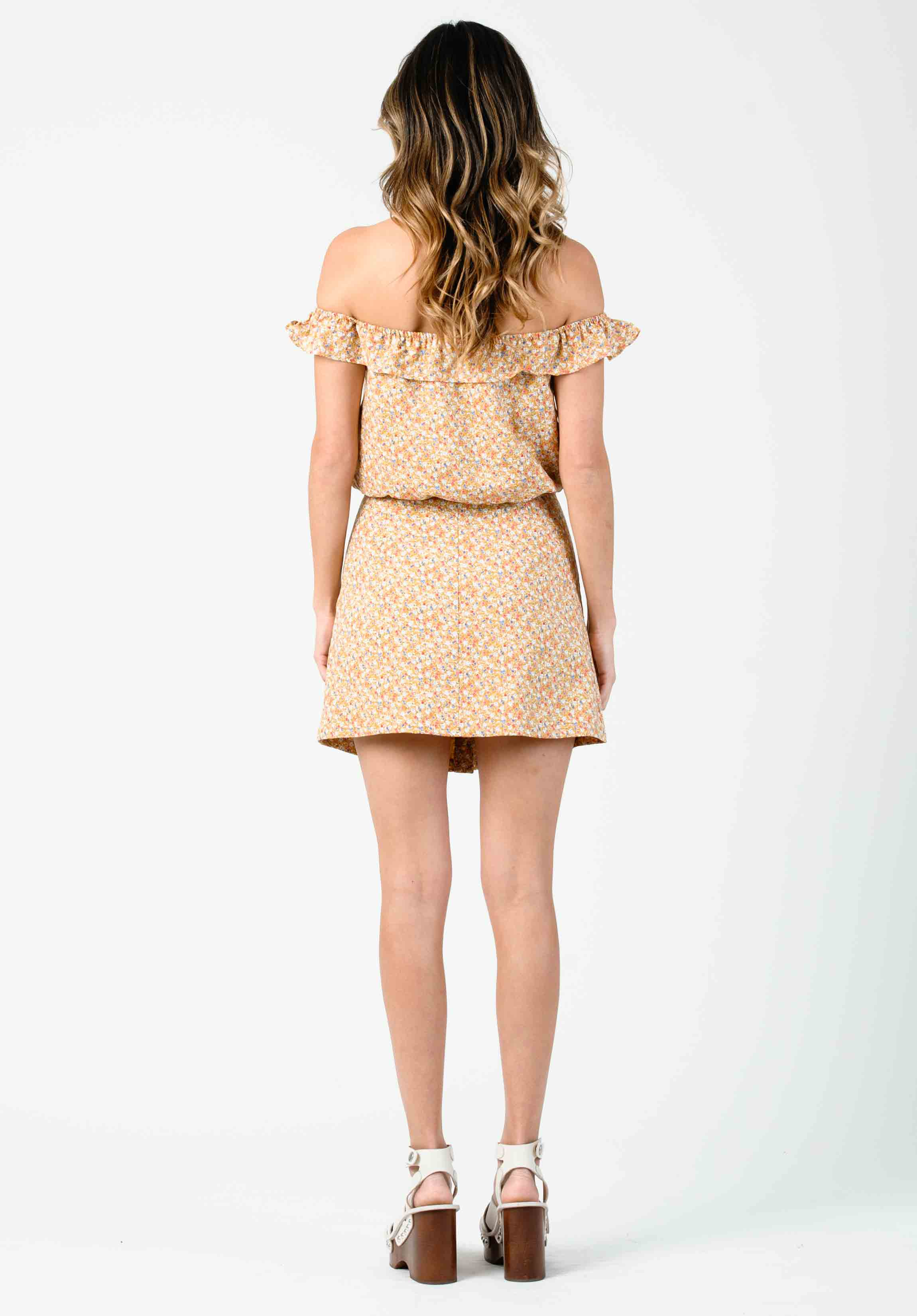 CHELSEA FRONT BUTTON SKIRT | AMBER DITSY