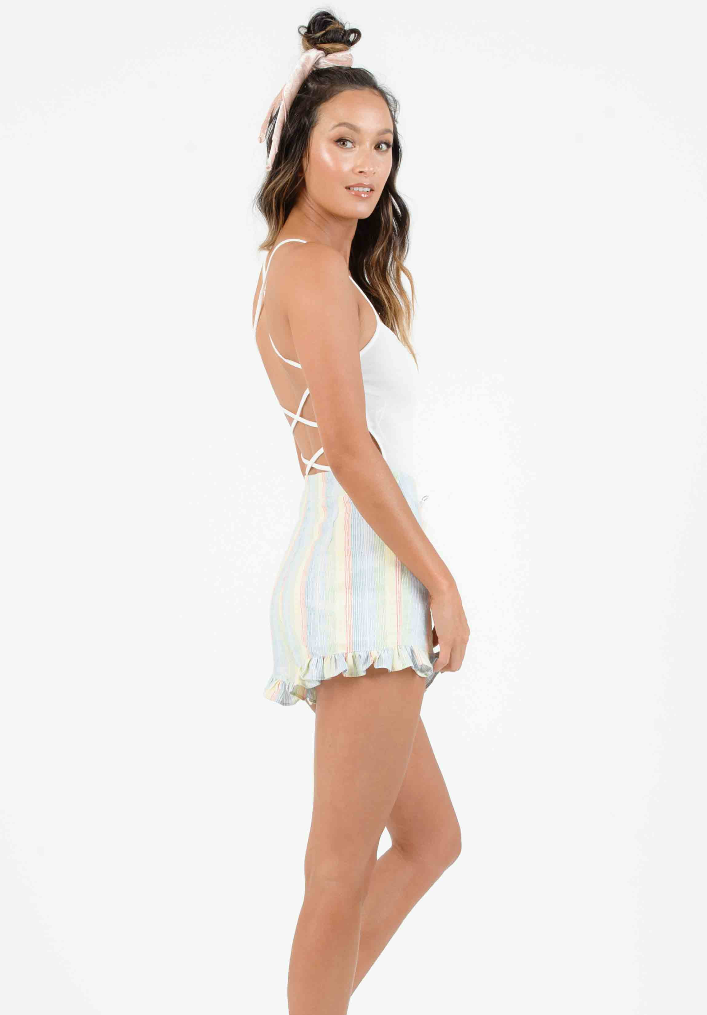 DANIELLA HIGH WAISTED RUFFLE SHORTS | RAINBOW