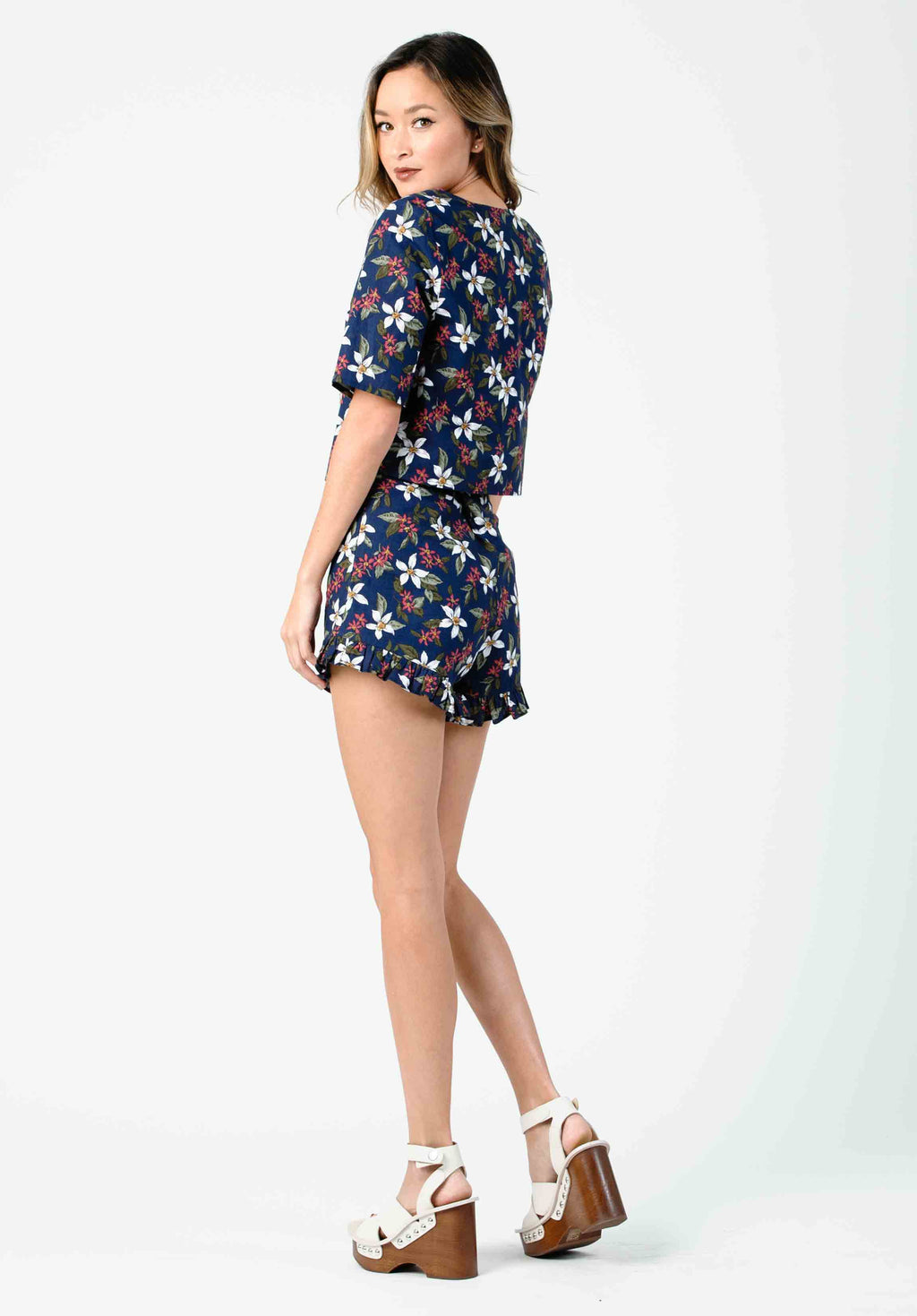 DANIELLA HIGH WAISTED RUFFLE SHORTS | NAVY FLORAL