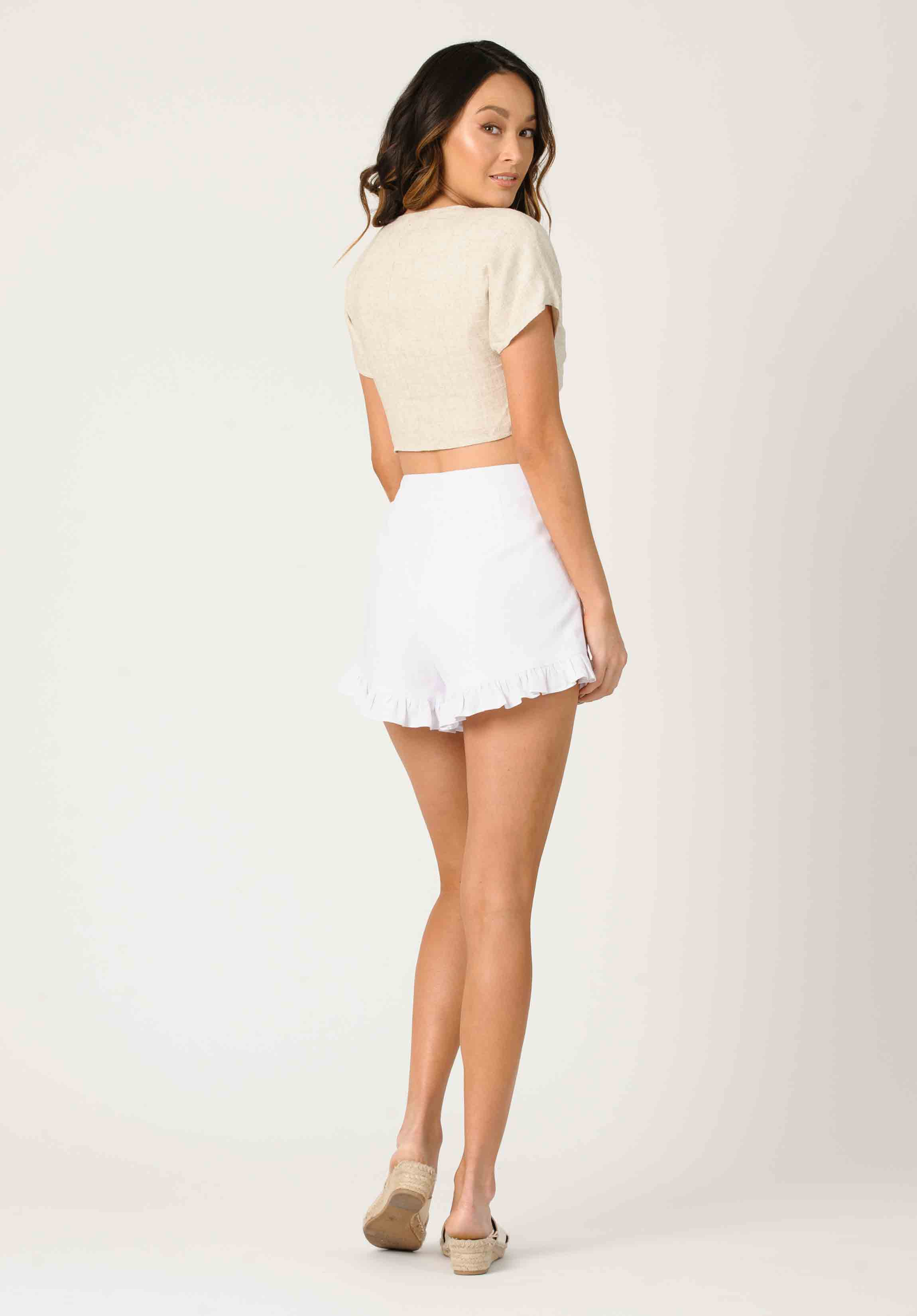 DANIELLA HIGH WAISTED RUFFLE SHORTS | WHITE
