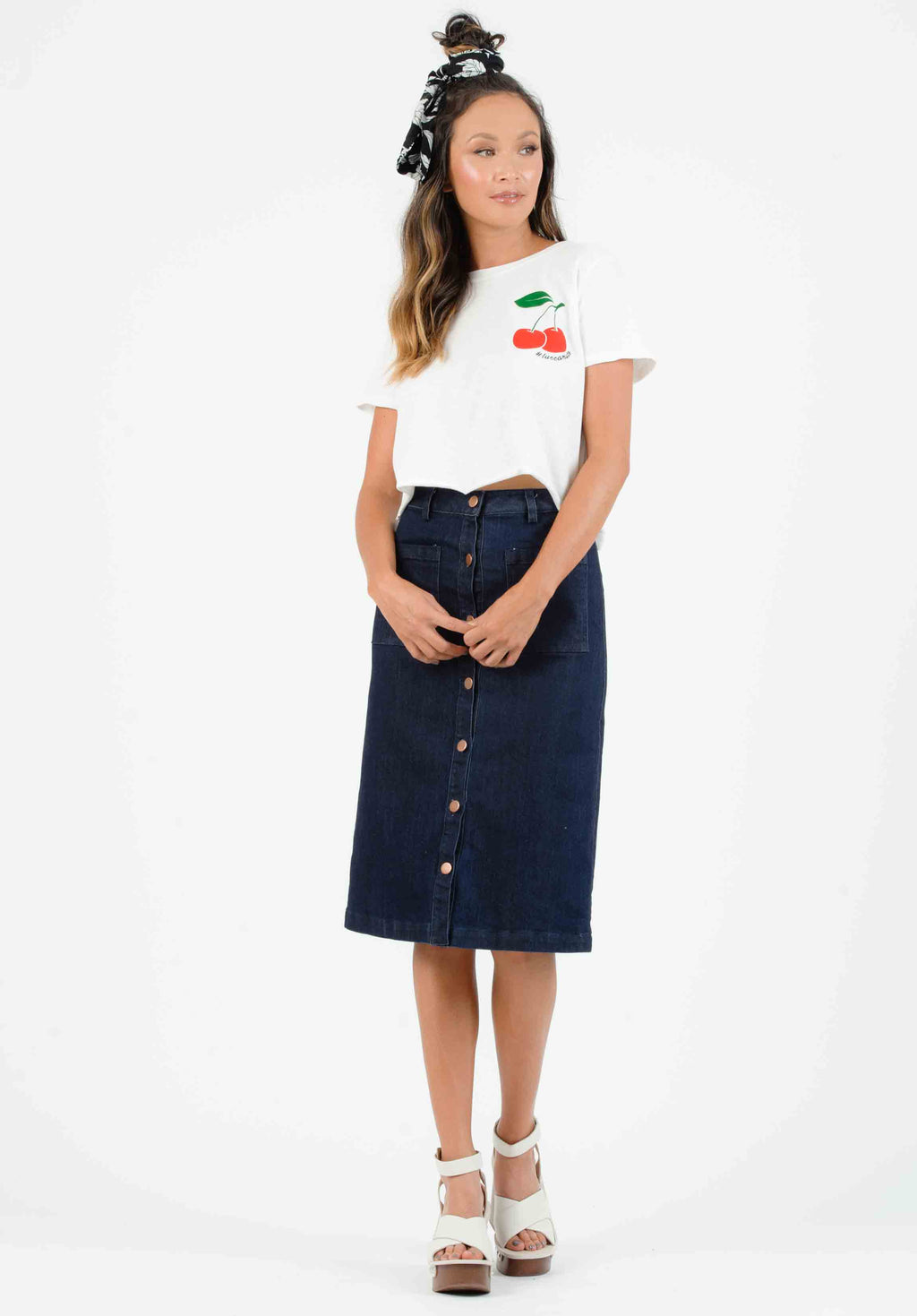 BRINLEY MIDI SKIRT | DENIM