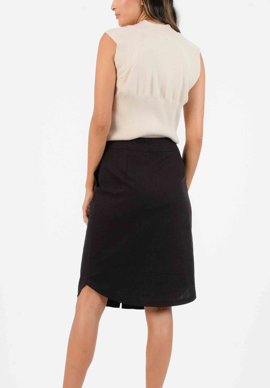 7f59ac5437 ADELE BUTTON FRONT MIDI SKIRT | BLACK – Lucca Couture