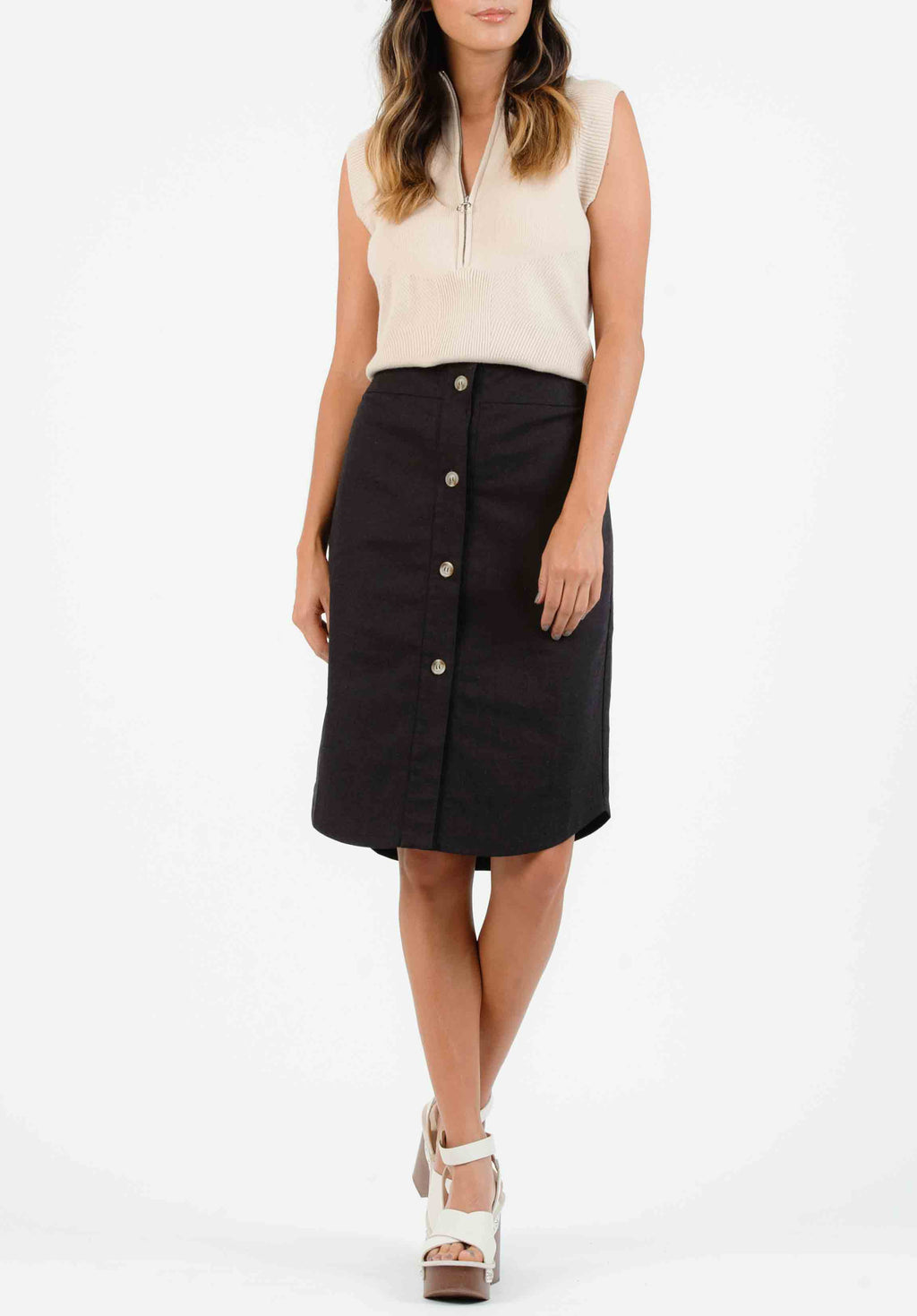 ADELE BUTTON FRONT MIDI SKIRT | BLACK
