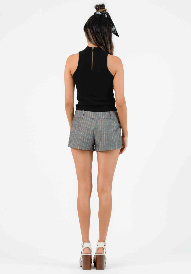 KAUAI HIGH WAISTED MINI SHORTS | BLACK/RAINBOW STRIPE