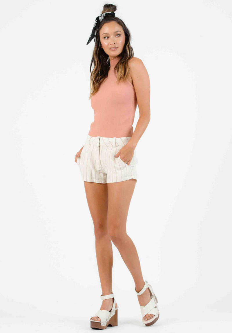 KAUAI HIGH WAISTED MINI SHORTS | TAN/RAINBOW STRIPE