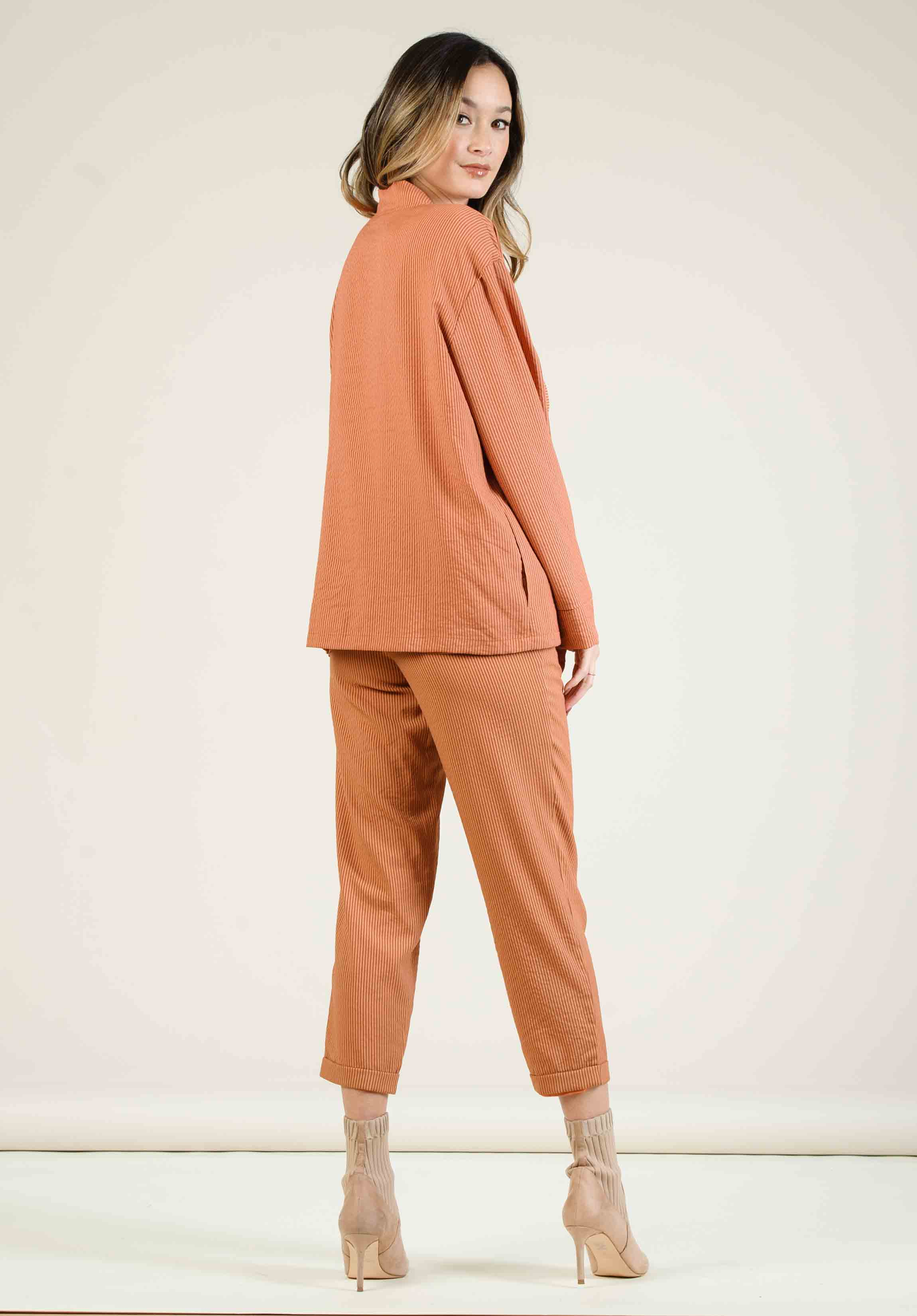 MALLROY ROLLED HEM TROUSERS | AMBER STRIPE