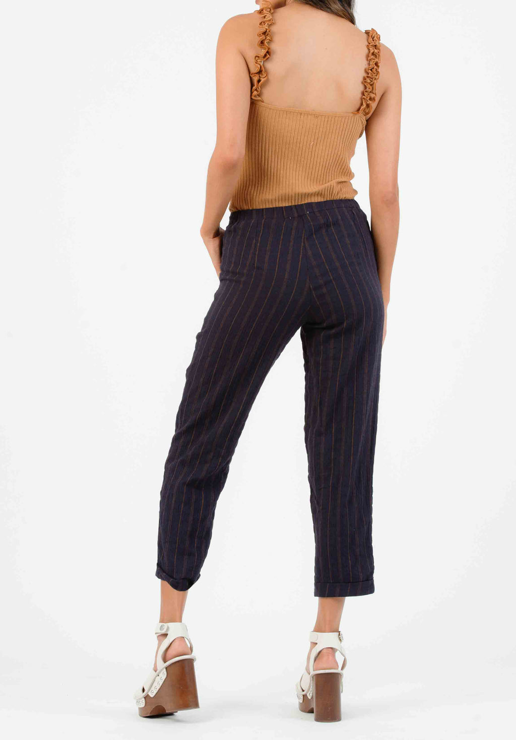 MALLROY ROLLED HEM TROUSERS | MIDNIGHT STRIPE