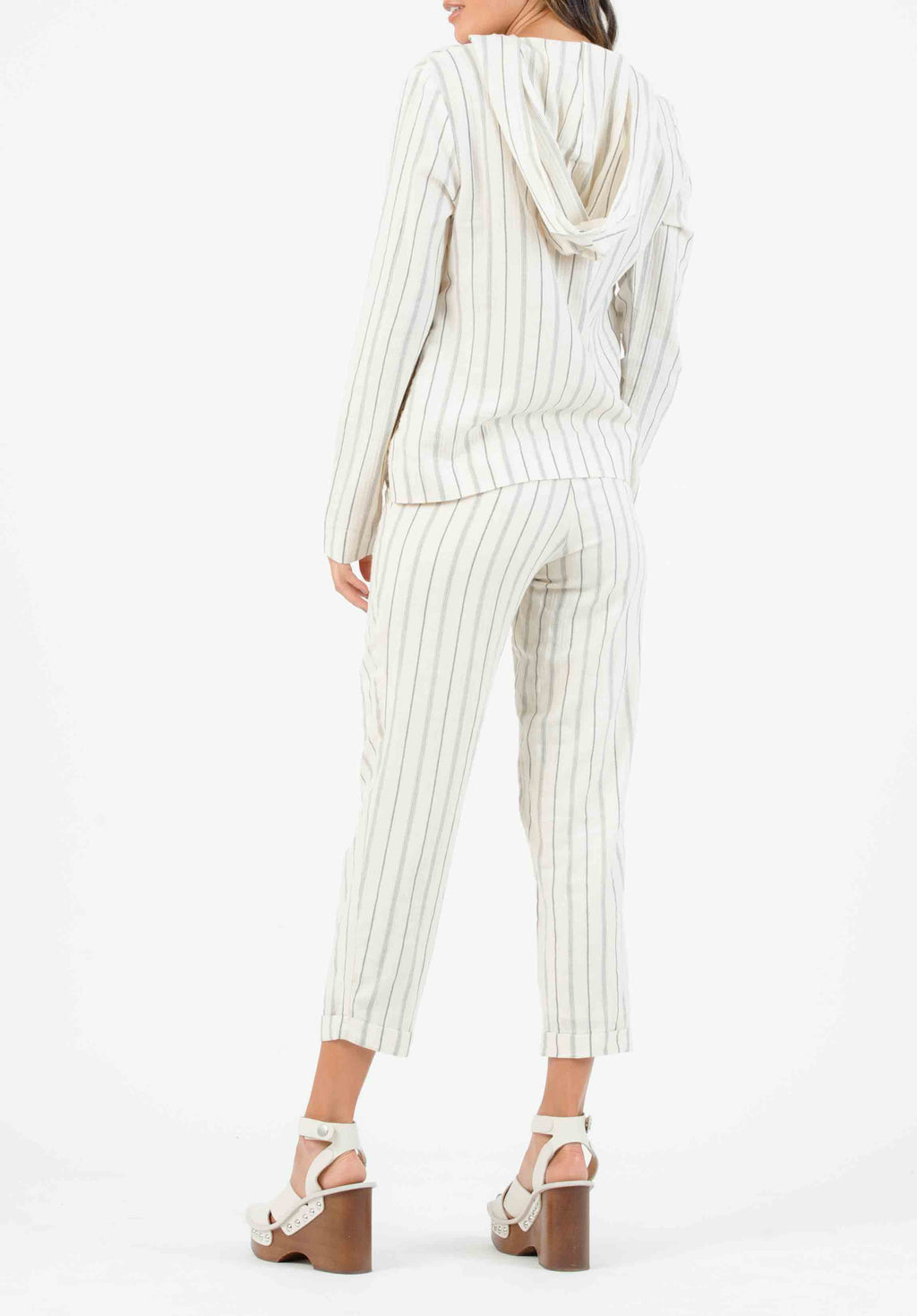 MALLROY ROLLED HEM TROUSERS | CREAM STRIPE
