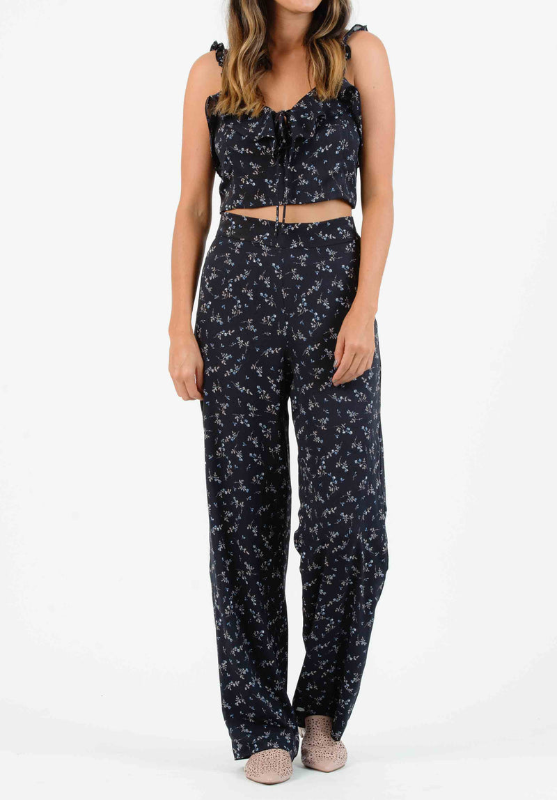 IRIS PALAZZO PANT W/ SIDE BUTTONS | NAVY MINI FLORAL