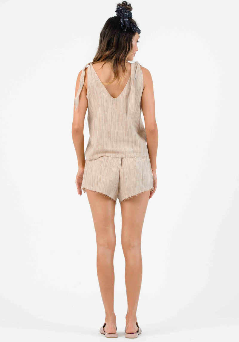 JETTY HIGH WAISTED RAW EDGE SHORTS | SAND
