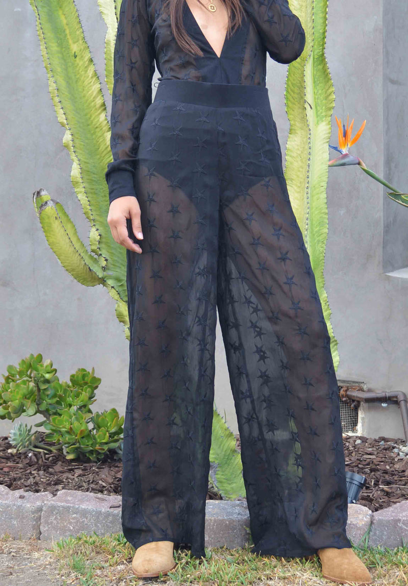 OASIS SHEER PANT | BLACK STAR