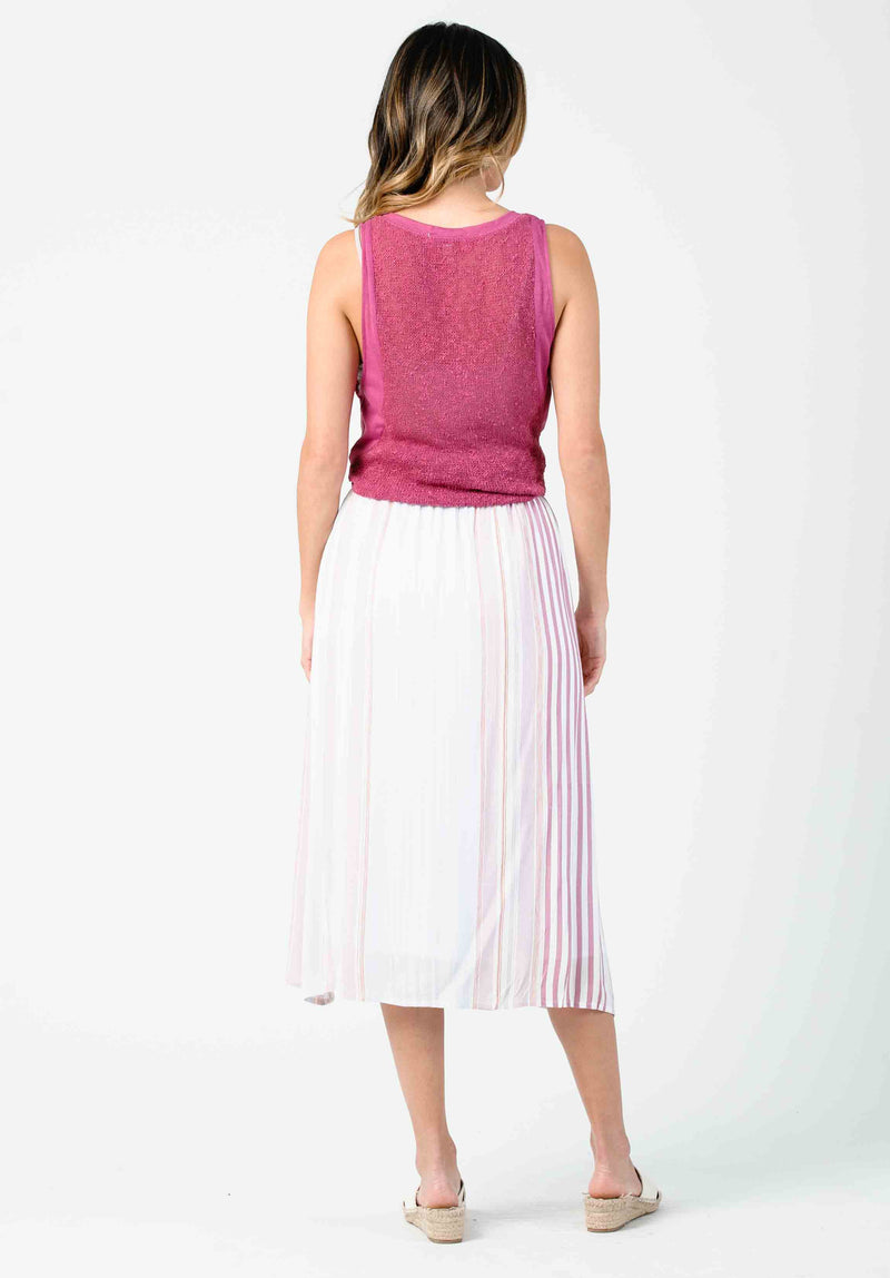 CASSIA BUTTON FRONT MIDI SKIRT | LAVENDER STRIPE