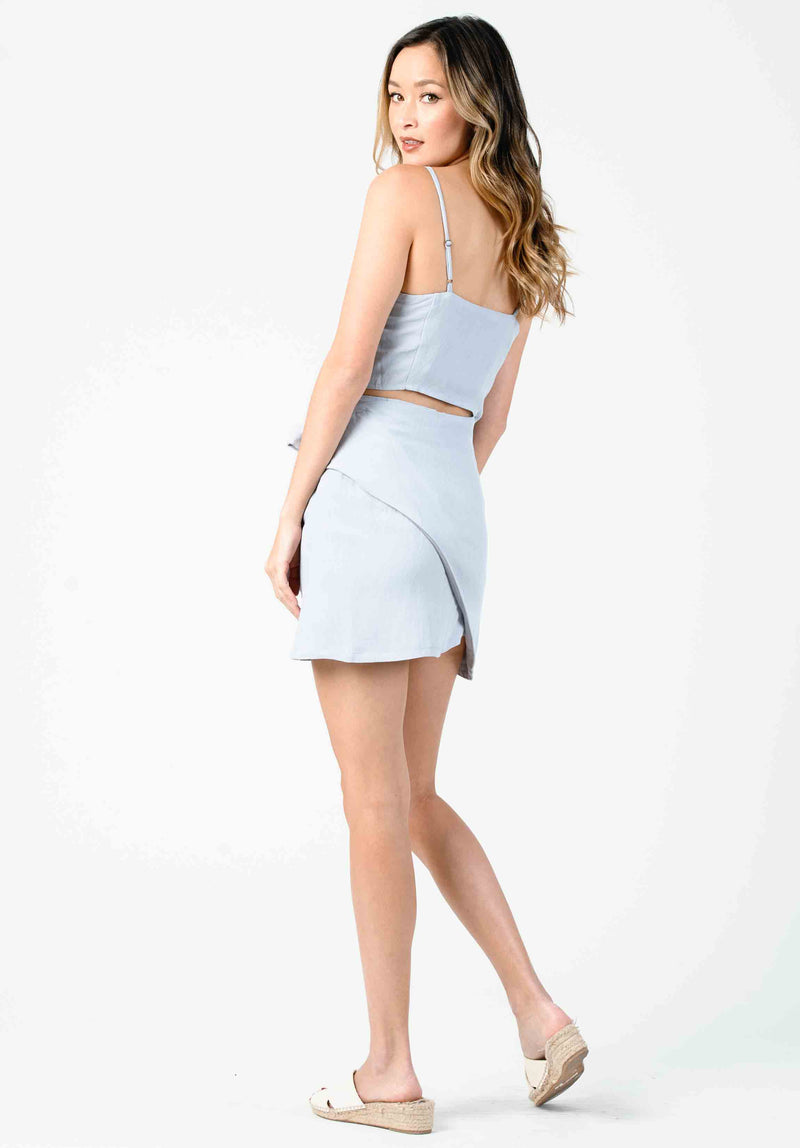 LOTUS WRAP MINI SKIRT | SEA MIST