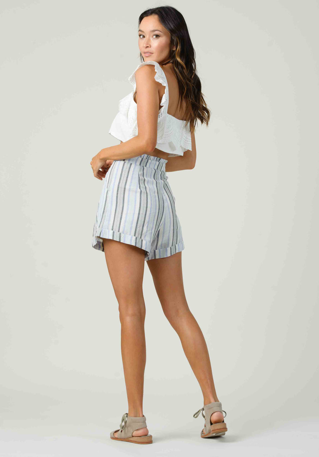POPPY RUFFLE WAIST SHORTS | BLUE STRIPE