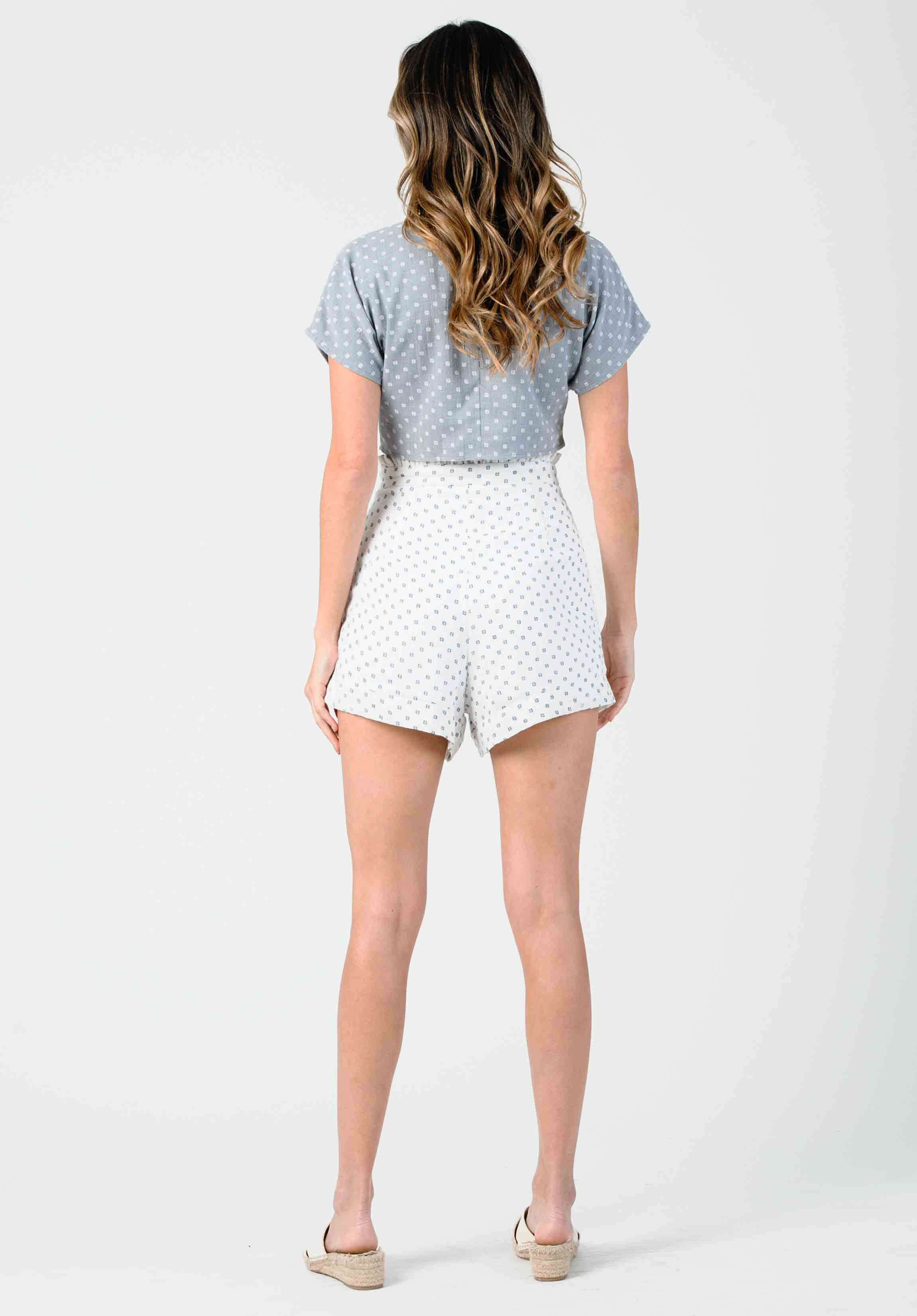 POPPY RUFFLE WAIST SHORTS | WHITE BRUSH