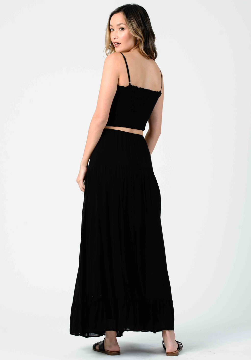 CARNATION PEASANT MAXI SKIRT | BLACK