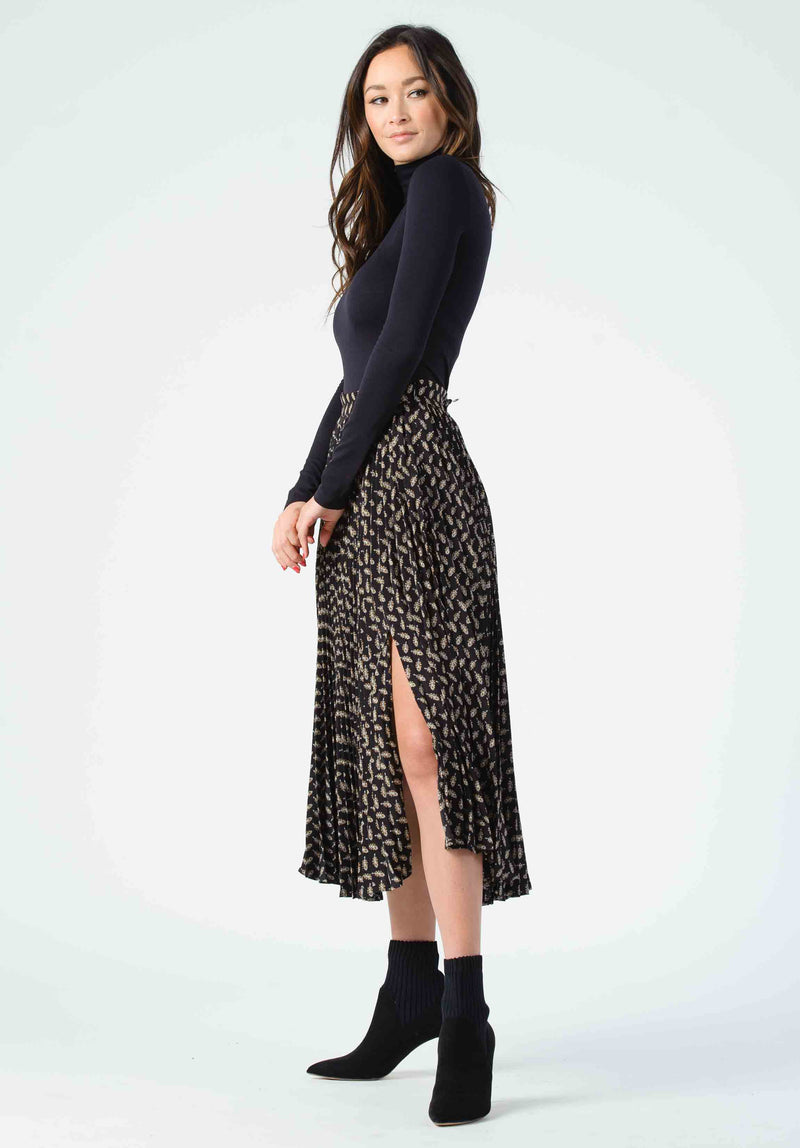 JANIS PLEATED MIDI SKIRT | BLACK LEAF