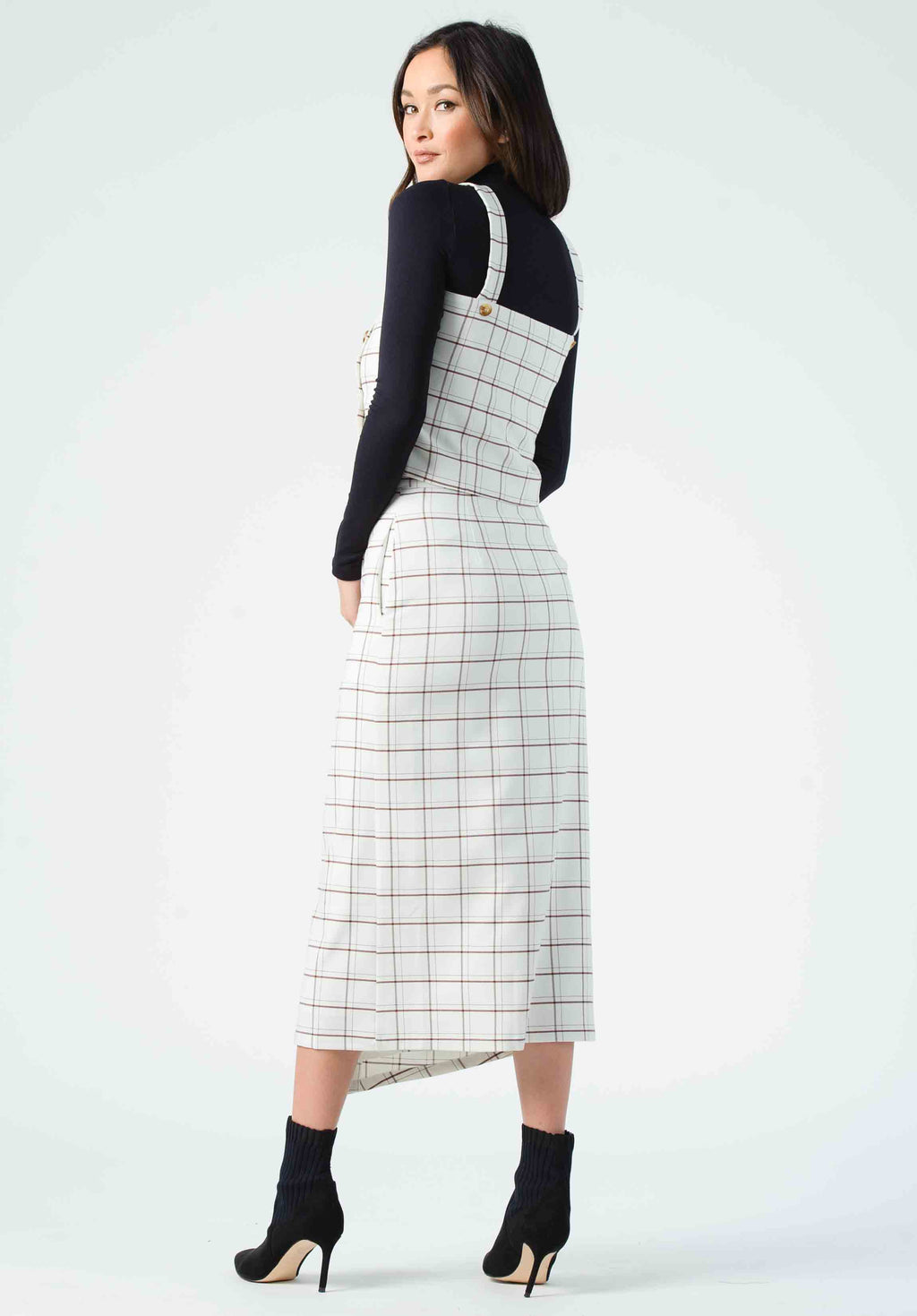 GLORI BUTTON FRONT MIDI SKIRT | VANILLA PLAID