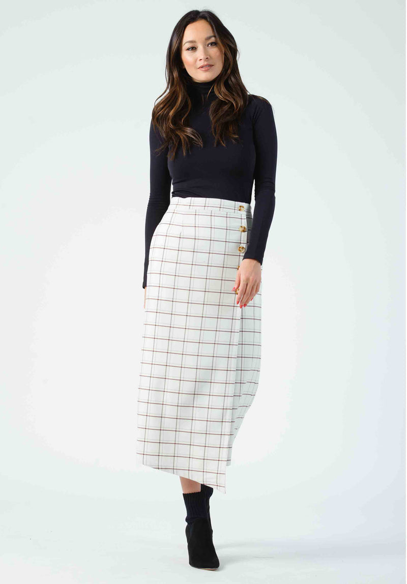 CHELSEA FRONT BUTTON SKIRT | OCEAN BLUE STAR