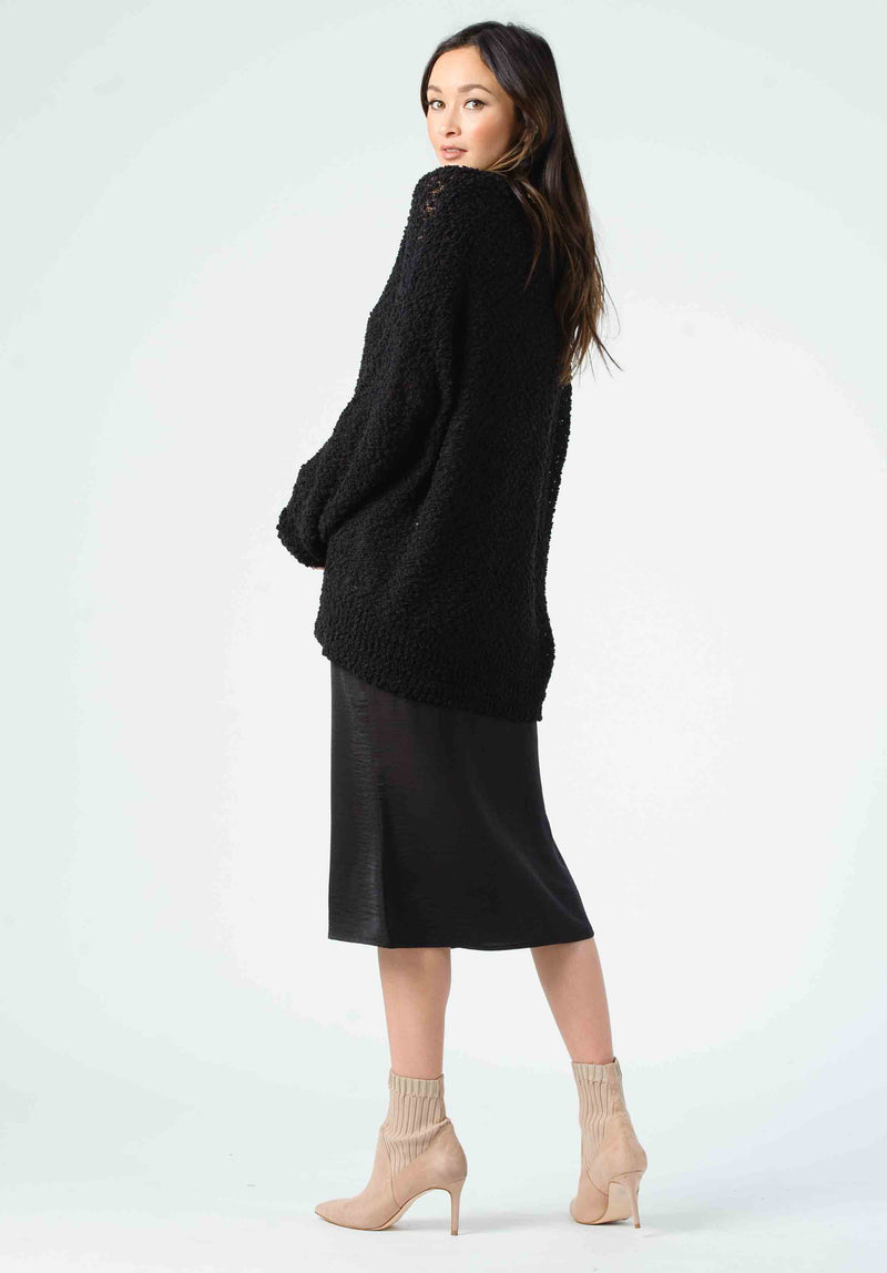 JANET BIAS CUT MIDI SKIRT | BLACK