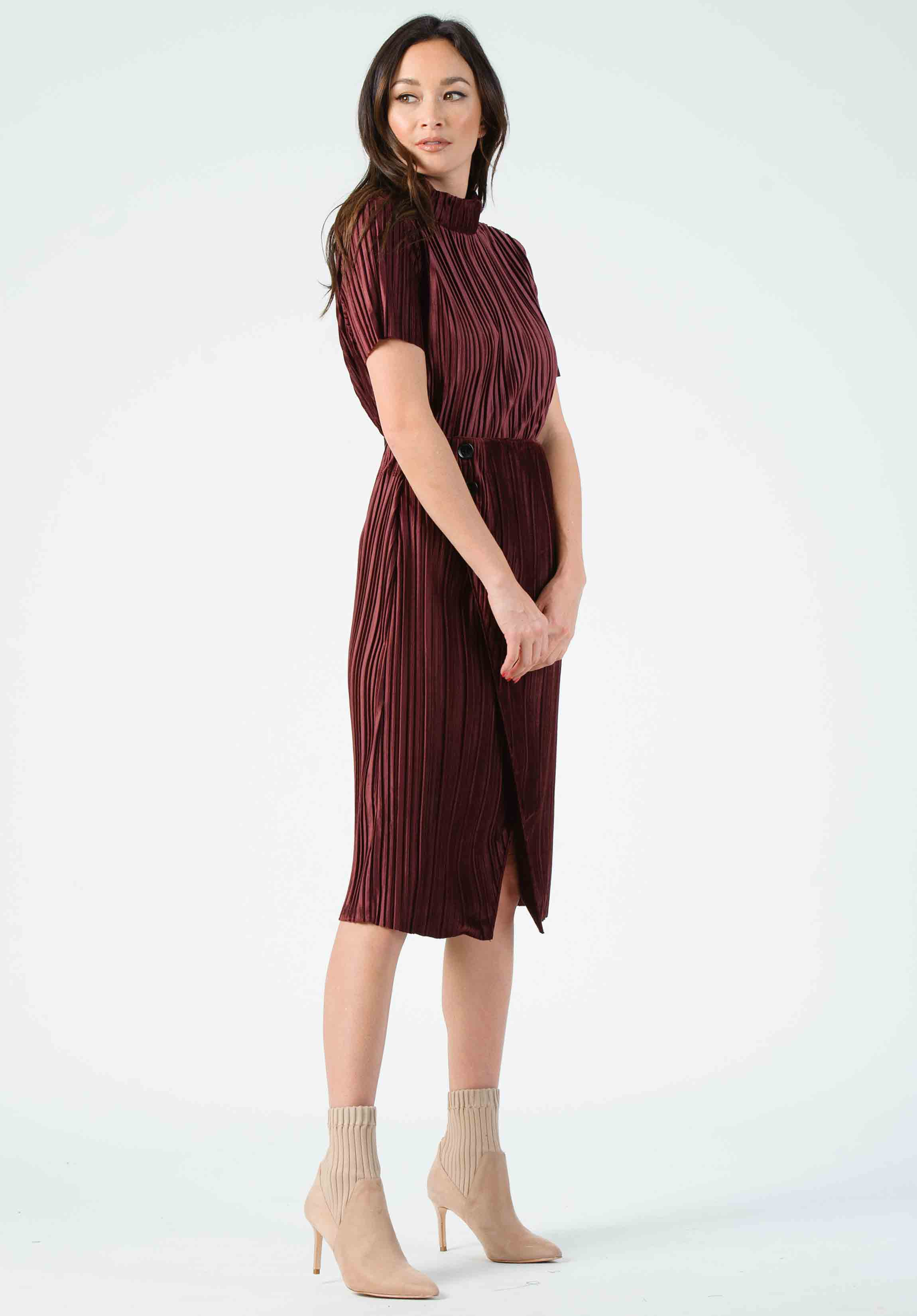 LAURIE HIGH WAIST SKIRT | BURGUNDY VELVET