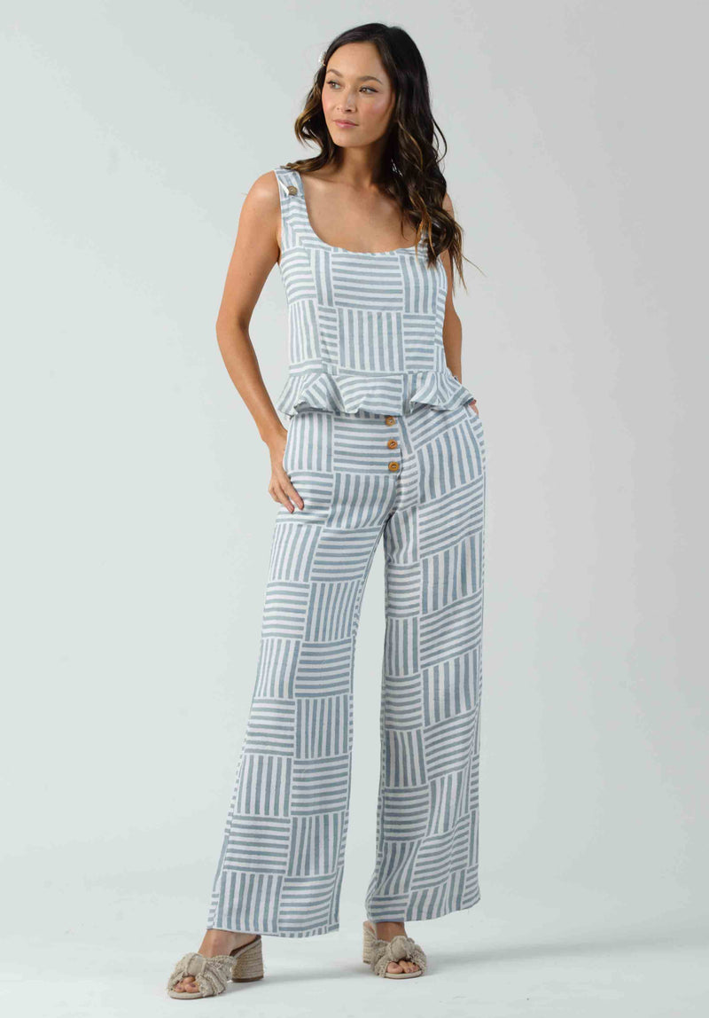 CALYTRIX BUTTON DETAIL PANTS | LIGHT BLUE STRIPE