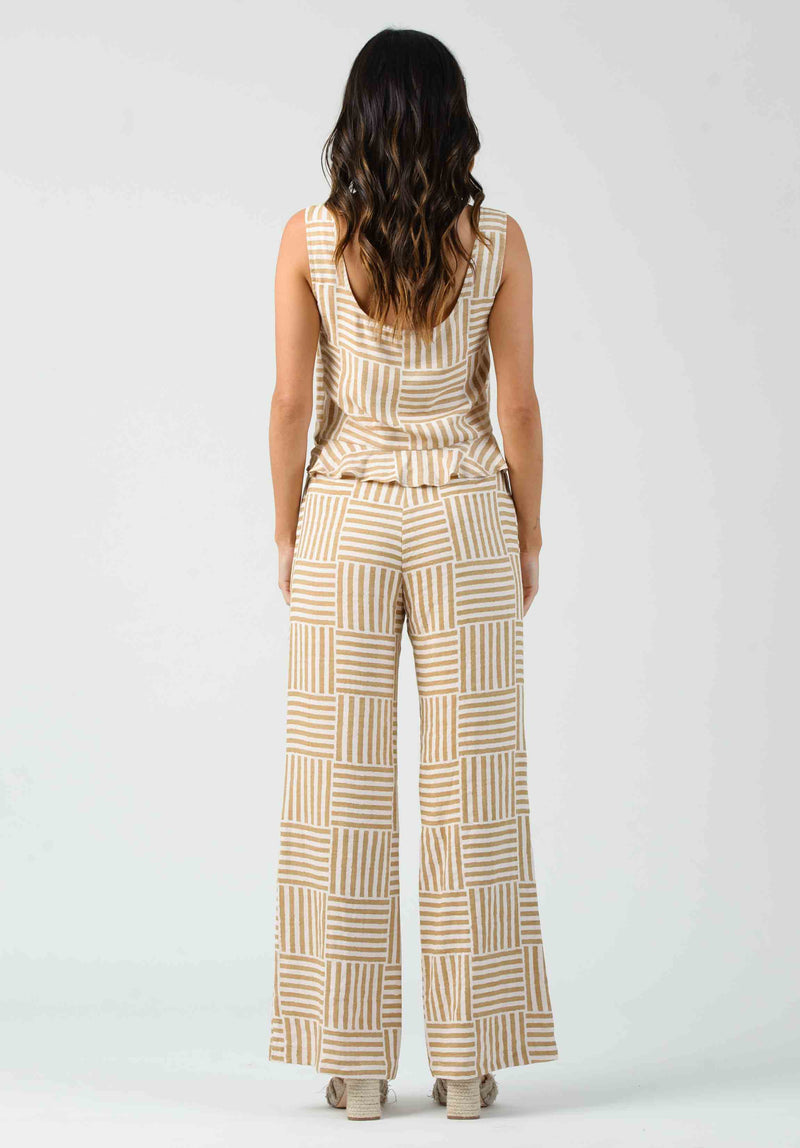 CALYTRIX BUTTON DETAIL PANTS | GRANOLA STRIPE