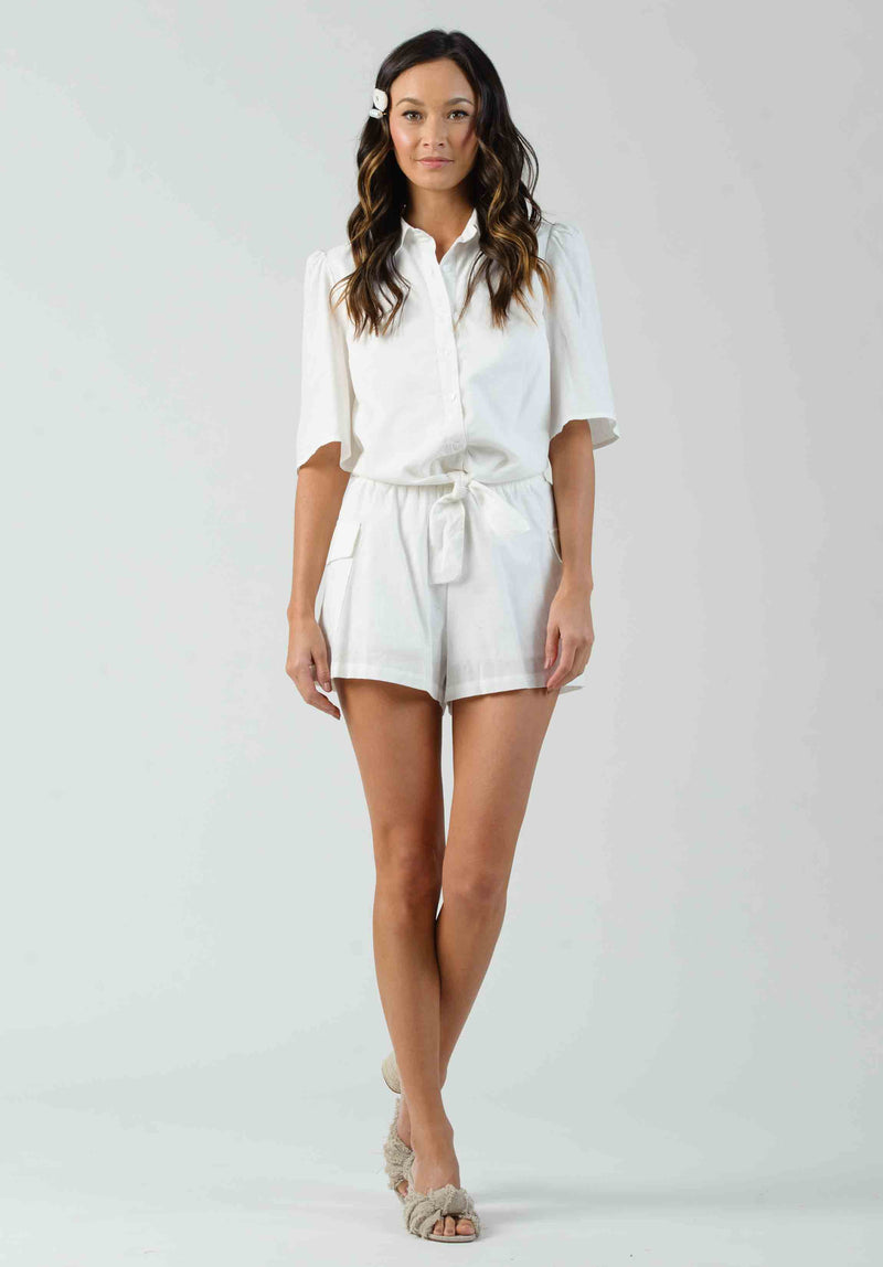 DAFFODIL SIDE POCKET SHORTS | WHITE LINEN