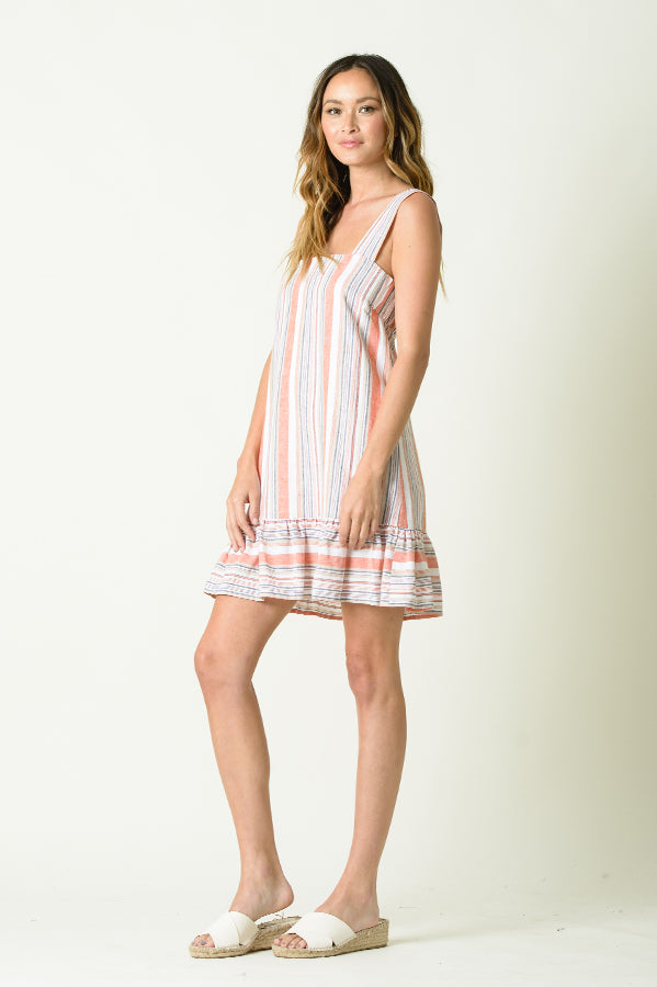 IVY WIDE STRAP DROP WAIST DRESS | RUSTIC STRIPE