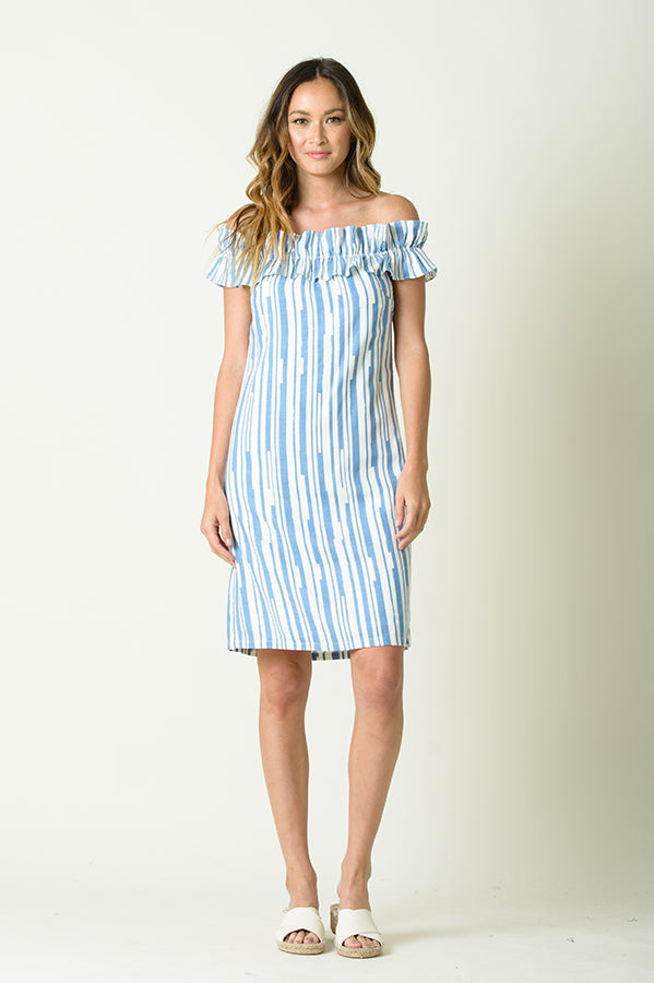 ANDREA OFF THE SHOULDER RUFFLED DRESS | BLUE STRIPE