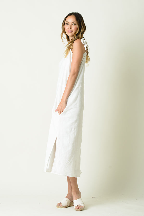 MOLLY TIE CAMI DRESS | WHITE