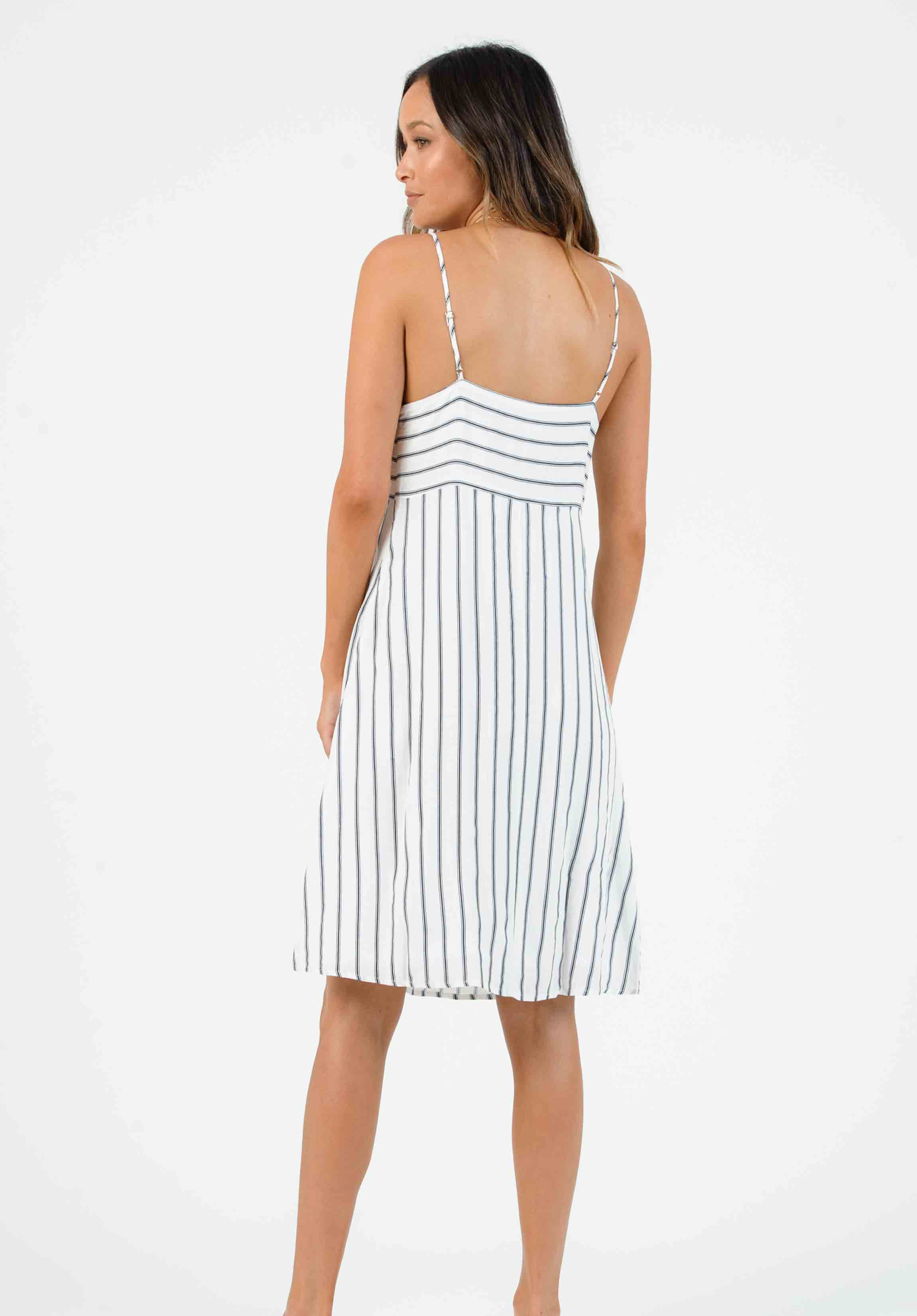 VIVIAN SWEETHEART CUT OUT MIDI DRESS | WHITE/NAVY STRIPE