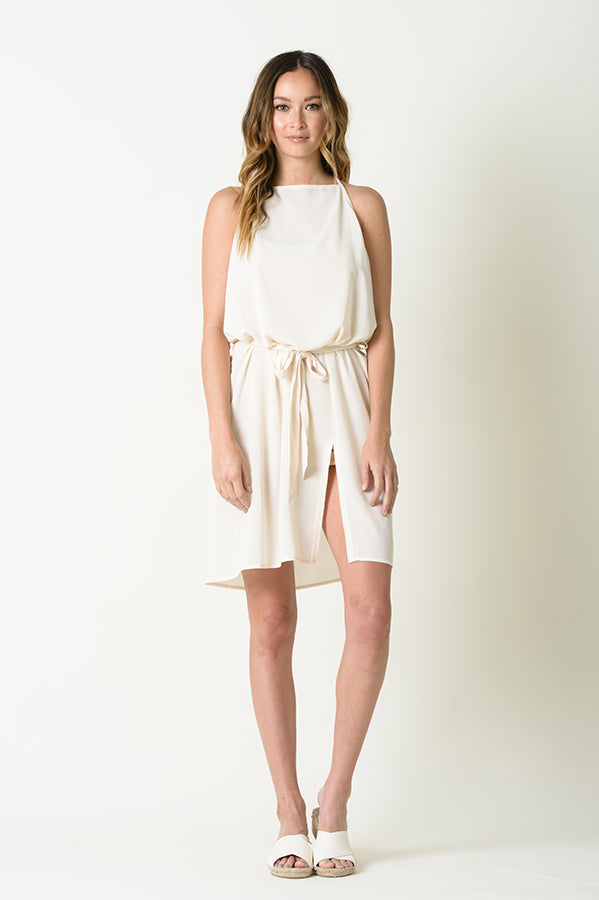 REBECCA BIB NECK FRONT SPLIT BELTED DRESS | SHELL
