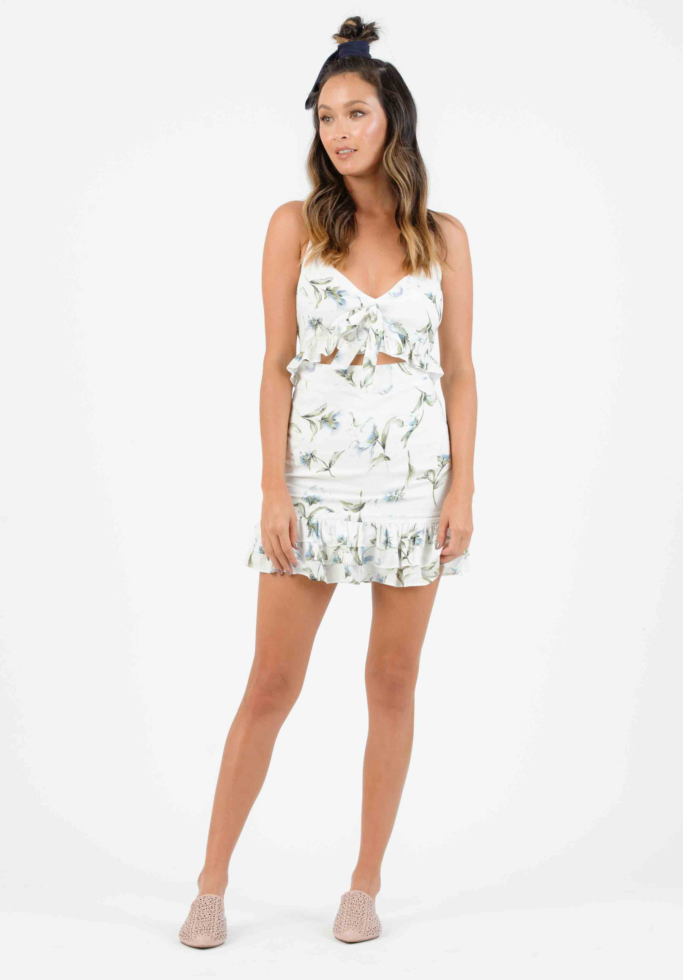 VANESSA FRONT TIE MINI DRESS | WHITE FLORAL
