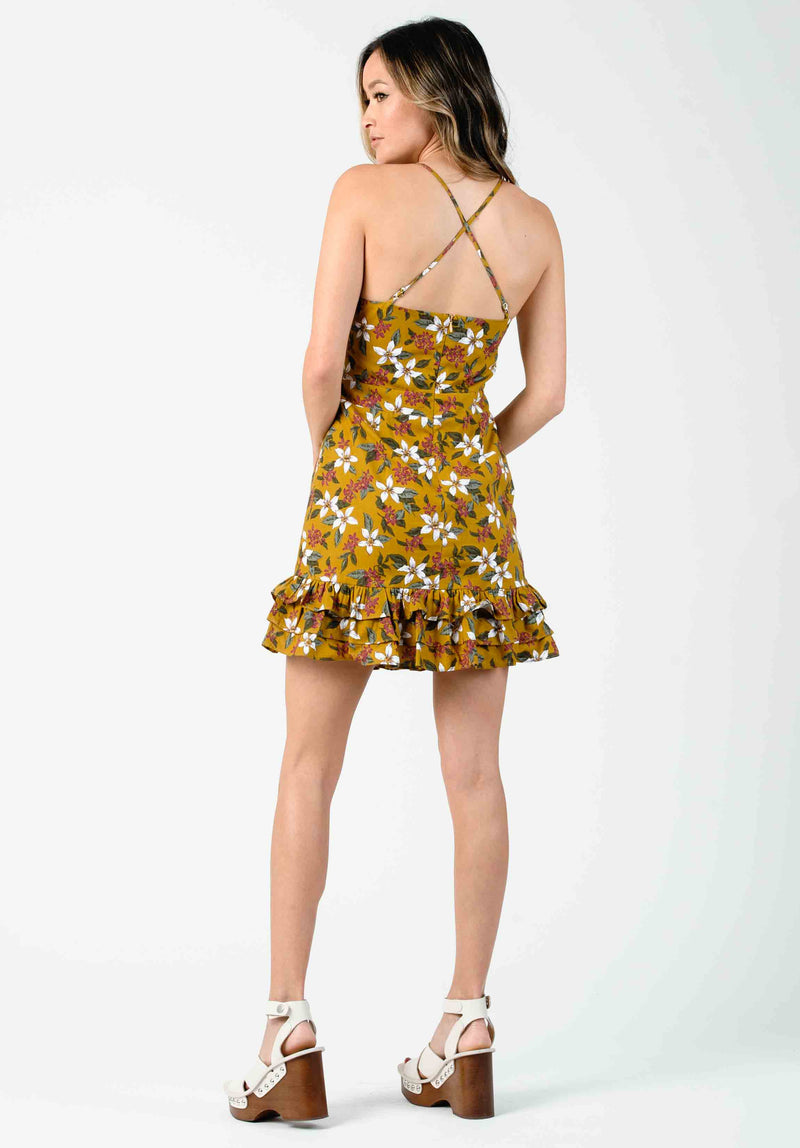 VANESSA CROSS-BACK DRESS | MUSTARD FLORAL