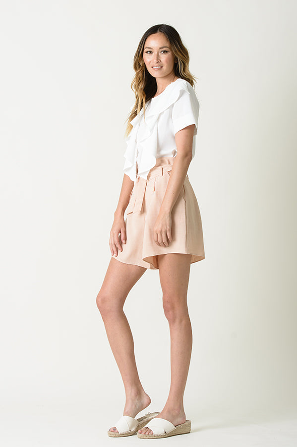 JORDYN HIGH WAISTED BELTED SHORTS | SANDSTONE