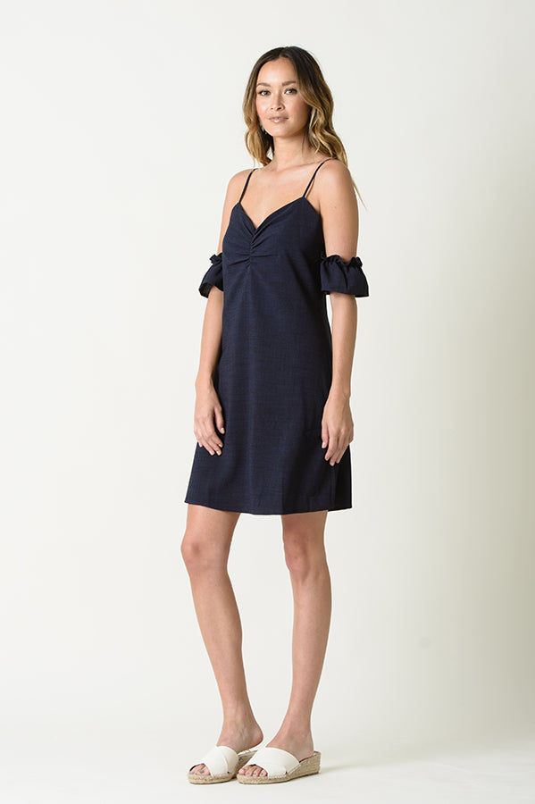 AMY COLD SHOULDER MINI DRESS | NAVY