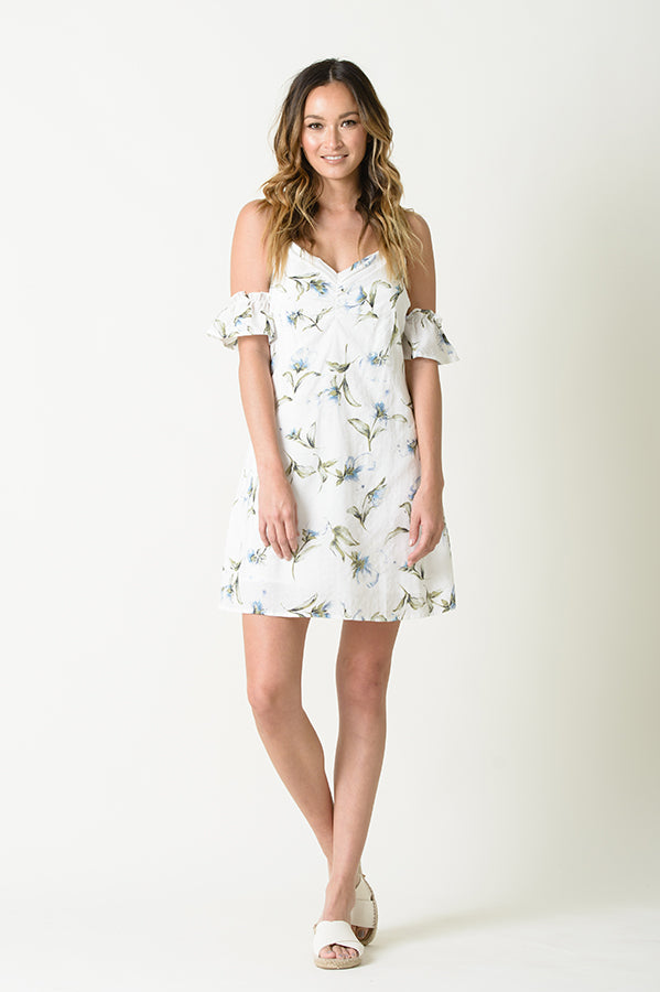 AMY COLD SHOULDER MINI DRESS | WHITE FLORAL
