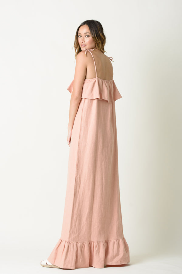 IRIS TIE STRAP RUFFLE DRESS | ROSE
