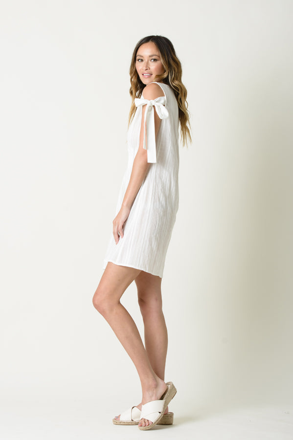 DAISY SHOULDER TIE DRESS | WHITE