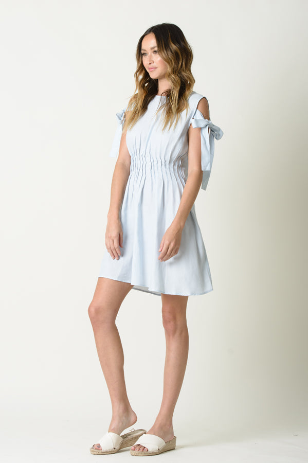 DAISY SHOULDER TIE DRESS | LIGHT DENIM