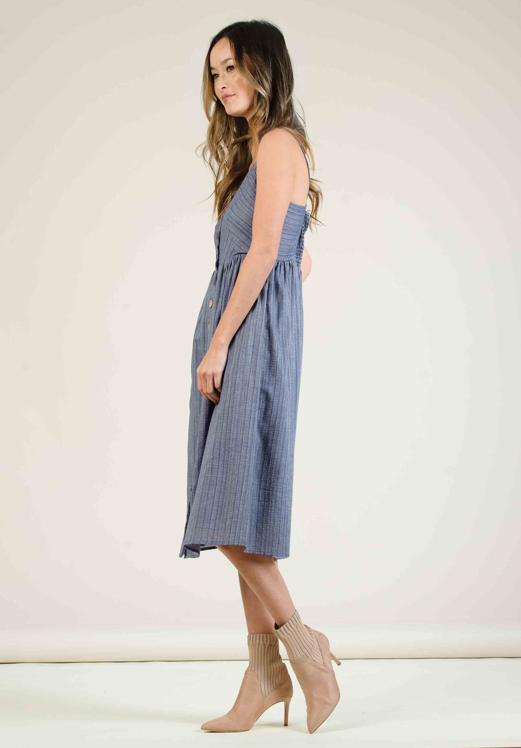 NORAH BUTTON DOWN MIDI DRESS | MIRAGE BLUE