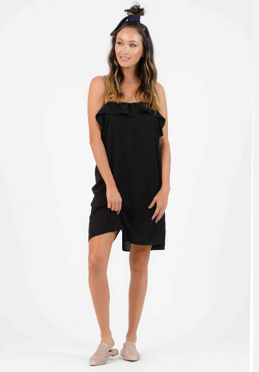 KENZIE RUFFLE SHIFT DRESS | BLACK